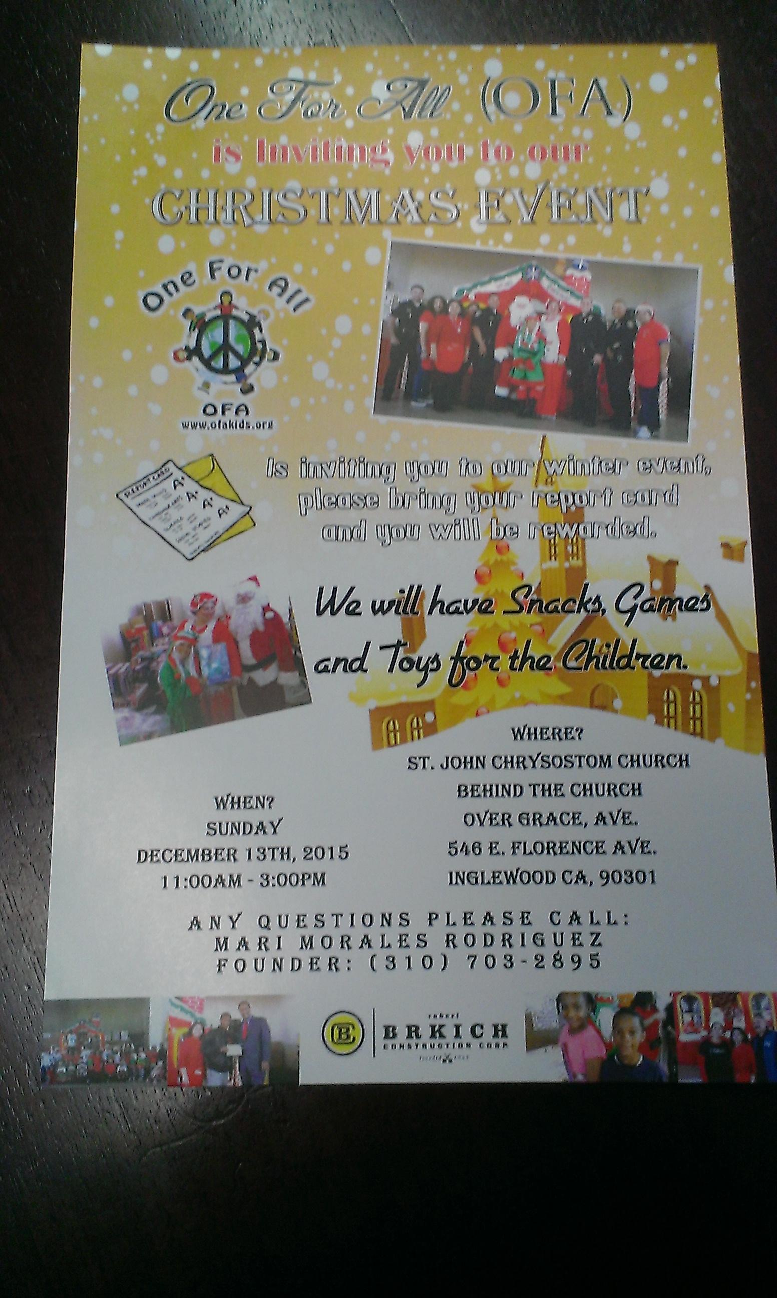 OFAKIDS Christmas Event – Dec 13, 2015